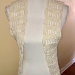 Handmade white/ivory crochet vest hippie costume